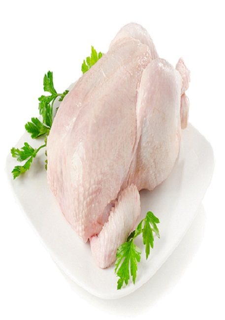 Whole raw chicken isolated  on a  white